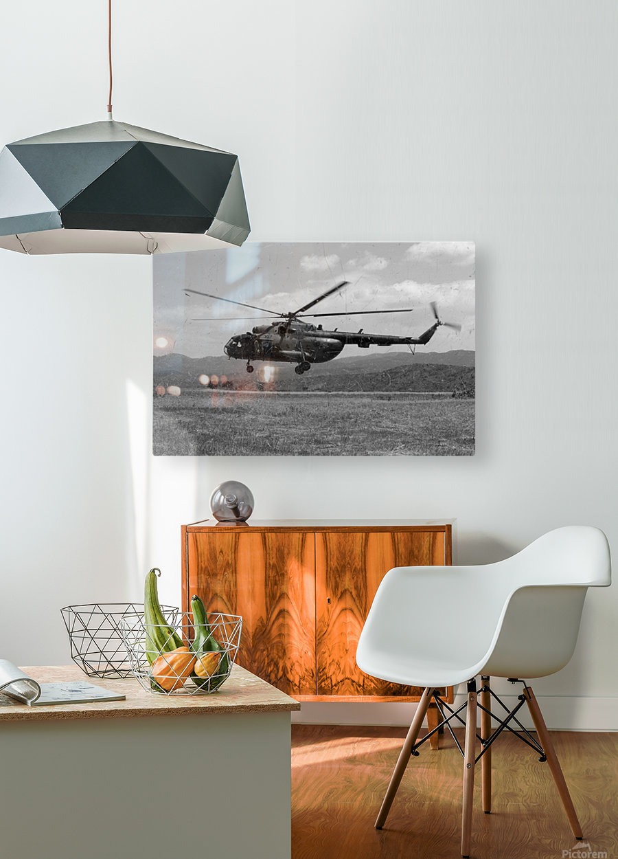 A Macedonian MI-17 helicopter landing as part of a medical transport flight.  HD Metal print with Floating Frame on Back