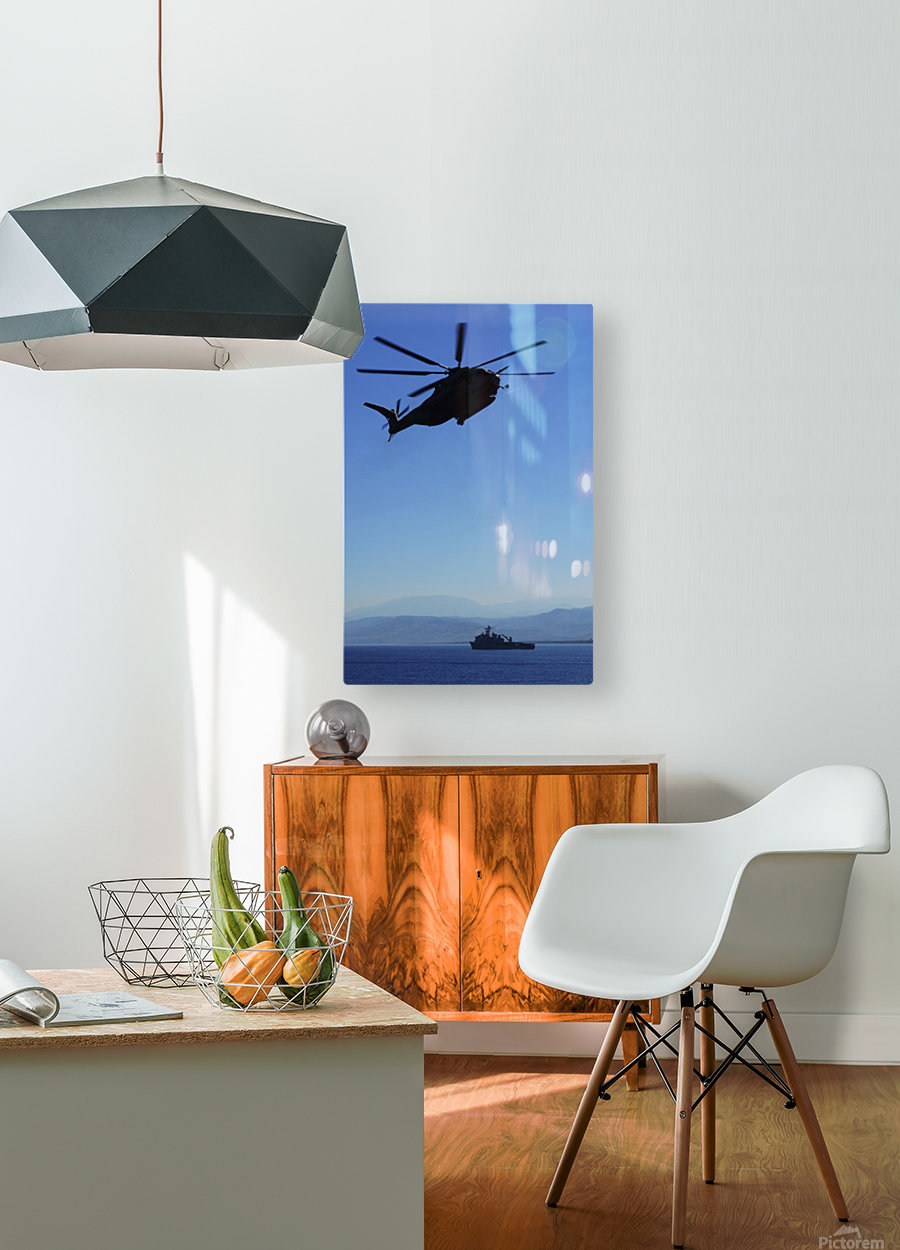 A CH-53E Super Stallion helicopter.  HD Metal print with Floating Frame on Back
