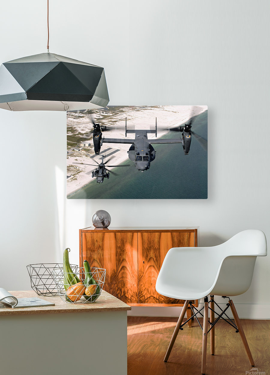 A CV-22 Osprey and an MH-53 Pave Low fly over the coastline of Florida.  HD Metal print with Floating Frame on Back