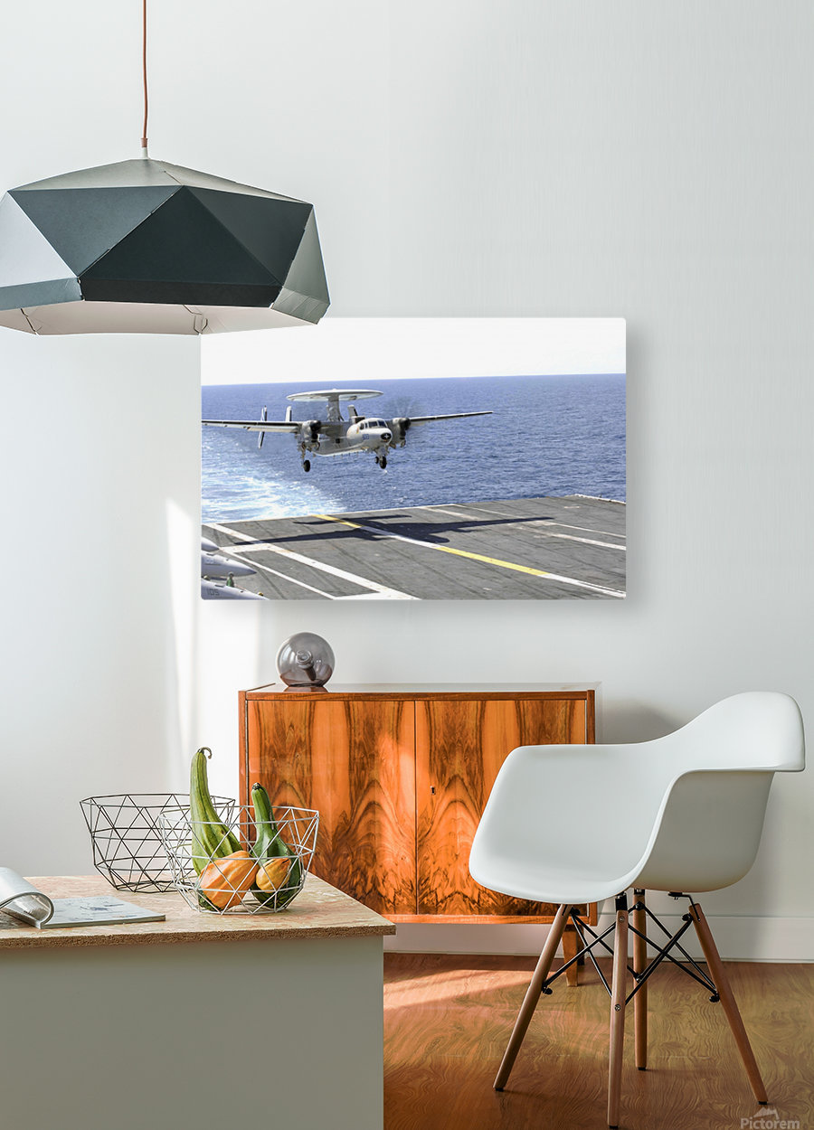 An E-2C Hawkeye makes its approach to the flight deck of USS Dwight D. Eisenhower.  HD Metal print with Floating Frame on Back