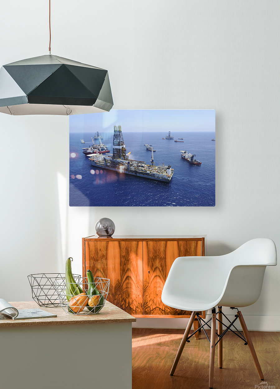 Flaring operations conducted by the drillship Discoverer Enterprise.  HD Metal print with Floating Frame on Back