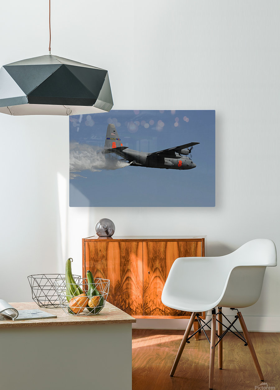 A U.S. Air Force C-130 Hercules releases its payload of water during training over South Carolina.  HD Metal print with Floating Frame on Back