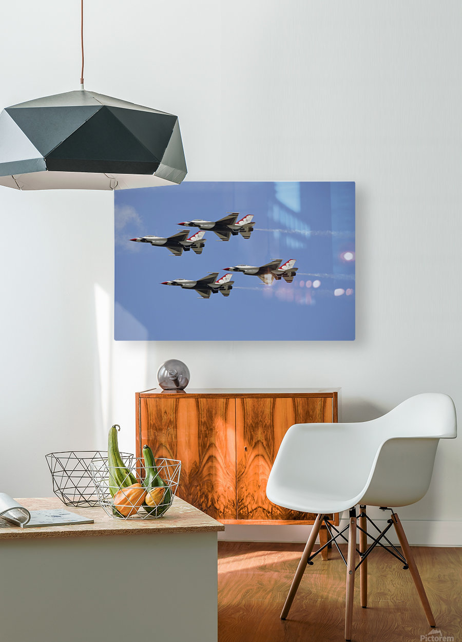The U.S. Air Force Thunderbirds fly in formation.  HD Metal print with Floating Frame on Back