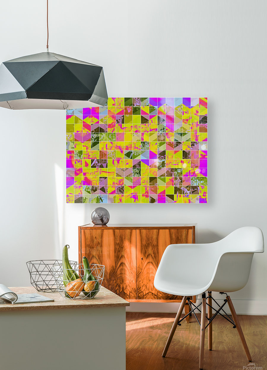 geometric square pattern abstract in yellow green pink  HD Metal print with Floating Frame on Back