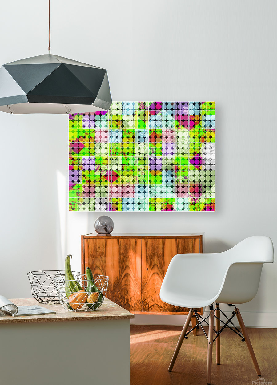 geometric square and circle pattern abstract in green pink  HD Metal print with Floating Frame on Back