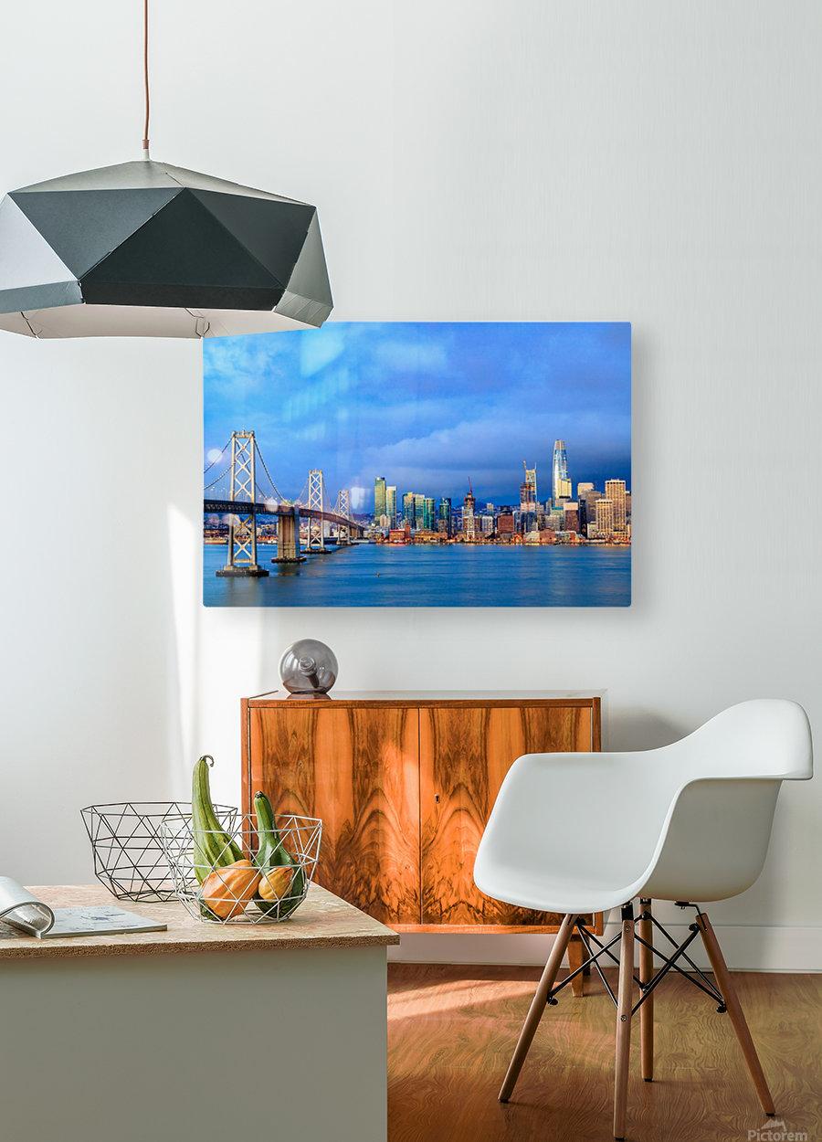 San Francisco on Blue  HD Metal print with Floating Frame on Back