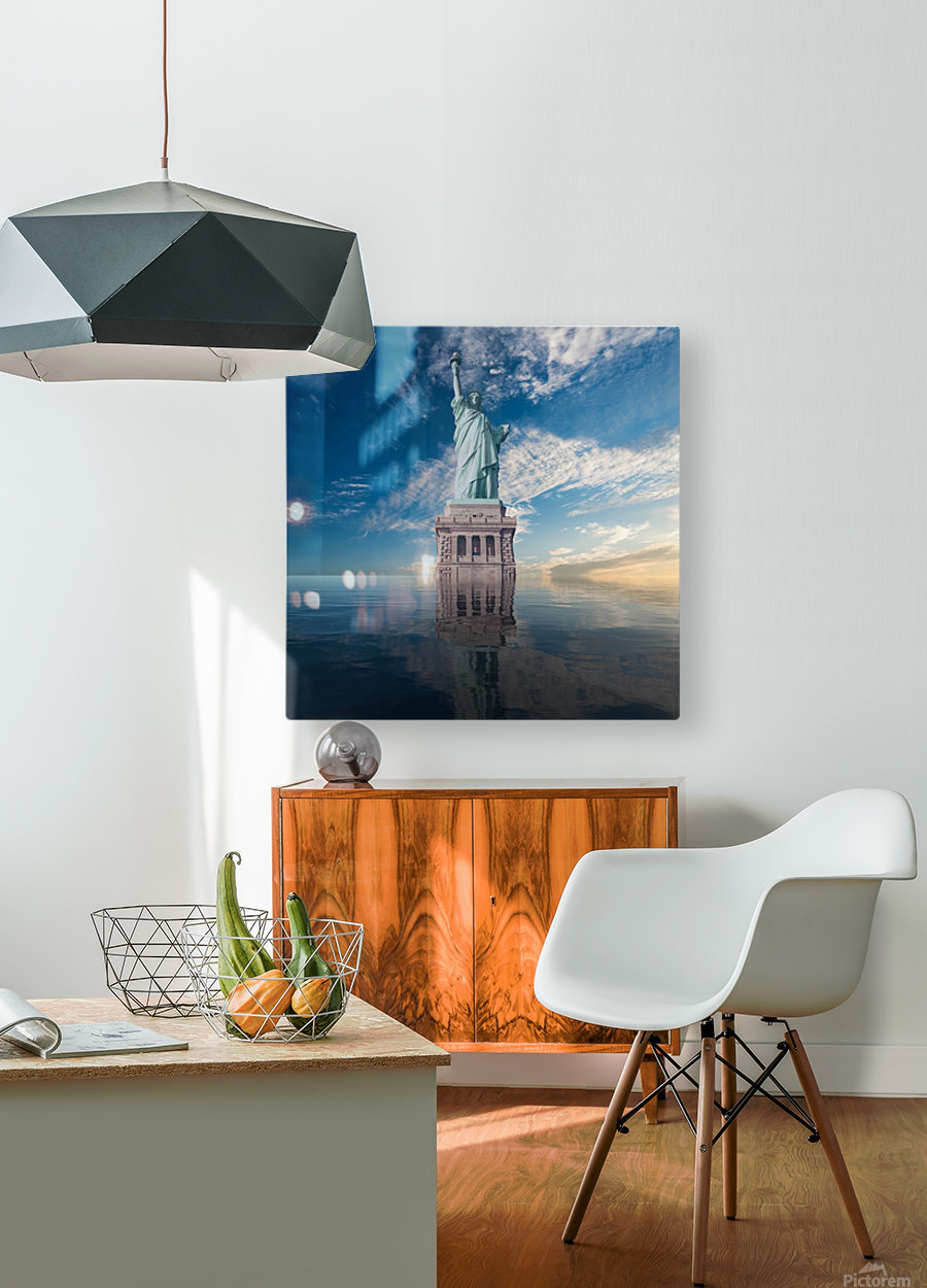 STATUE OF LIBERTY  HD Metal print with Floating Frame on Back