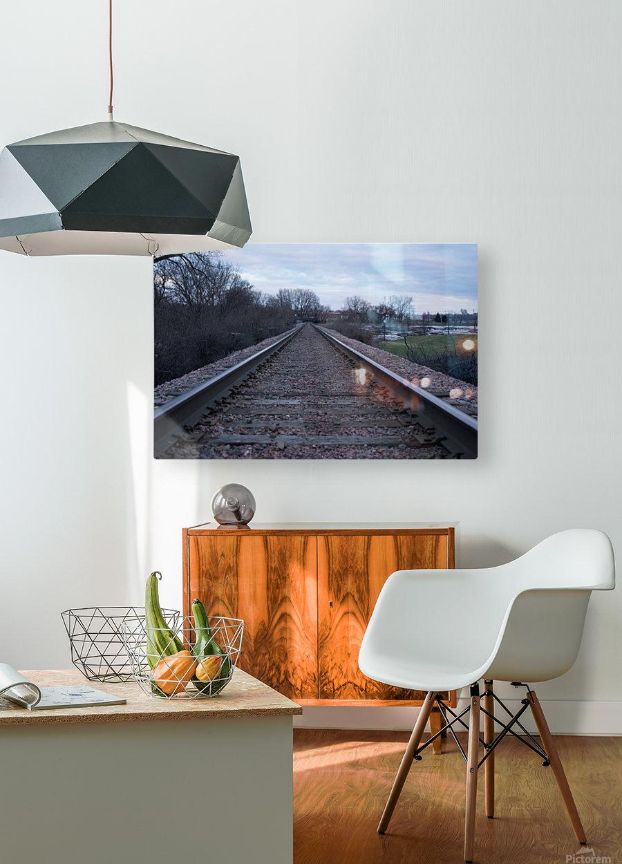 Train Tracks  HD Metal print with Floating Frame on Back