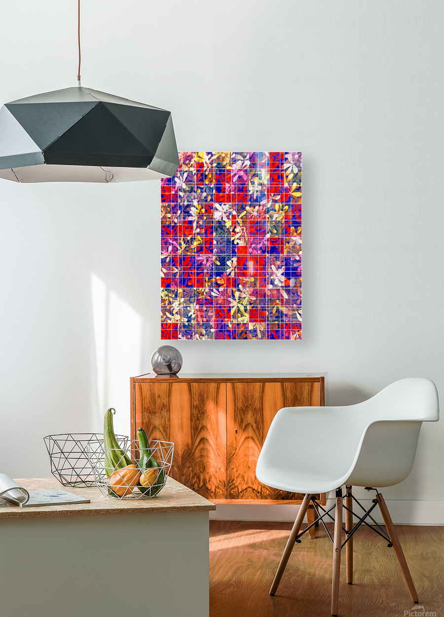 blooming flower with square pattern abstract in red and blue  HD Metal print with Floating Frame on Back