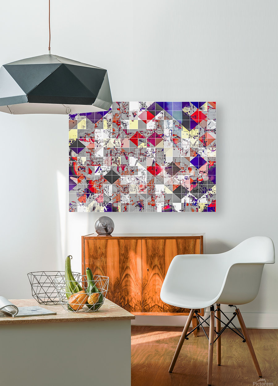 geometric square pixel pattern abstract in purple orange red  HD Metal print with Floating Frame on Back