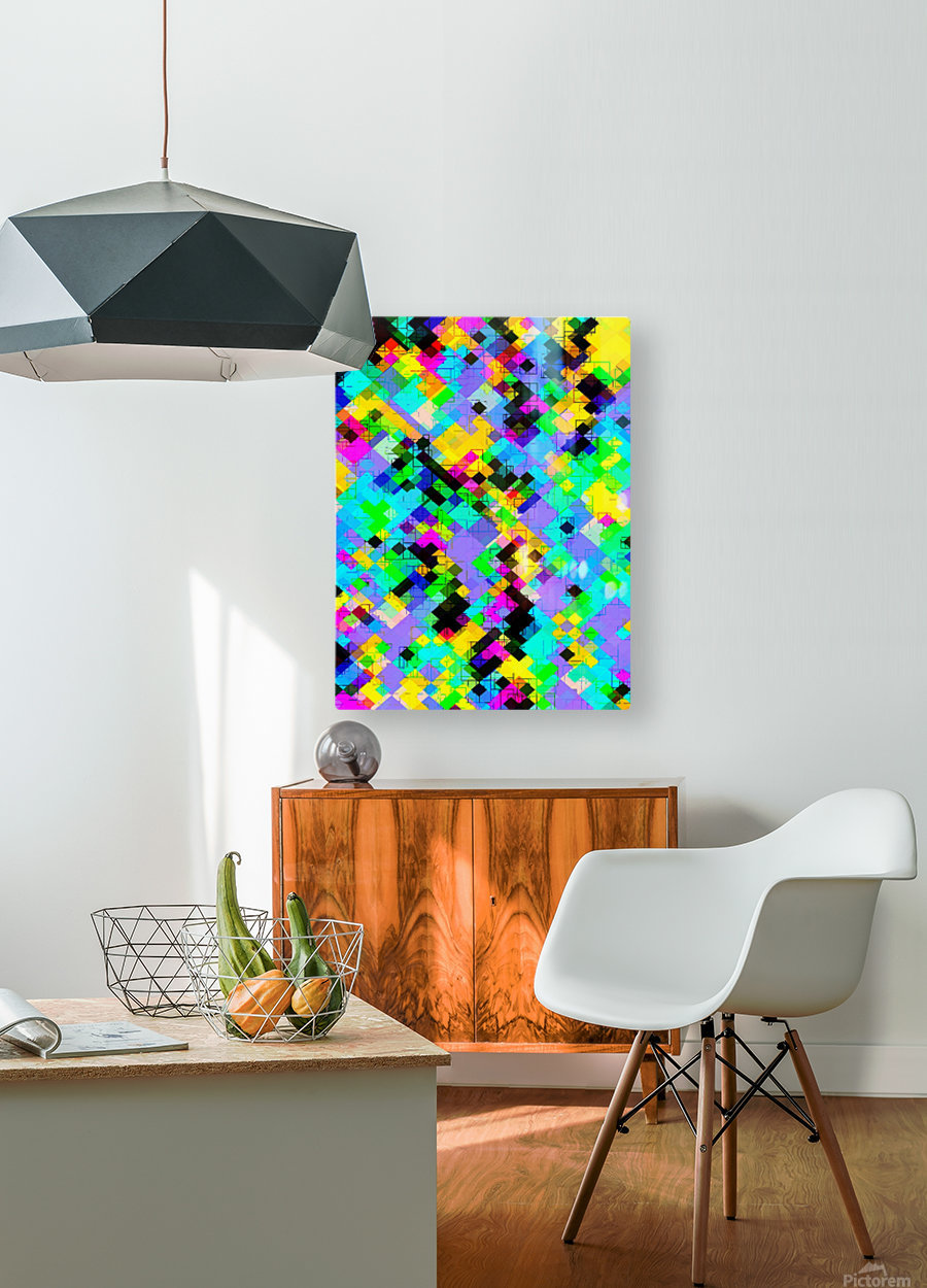 geometric square pixel pattern abstract in blue green yellow pink  HD Metal print with Floating Frame on Back