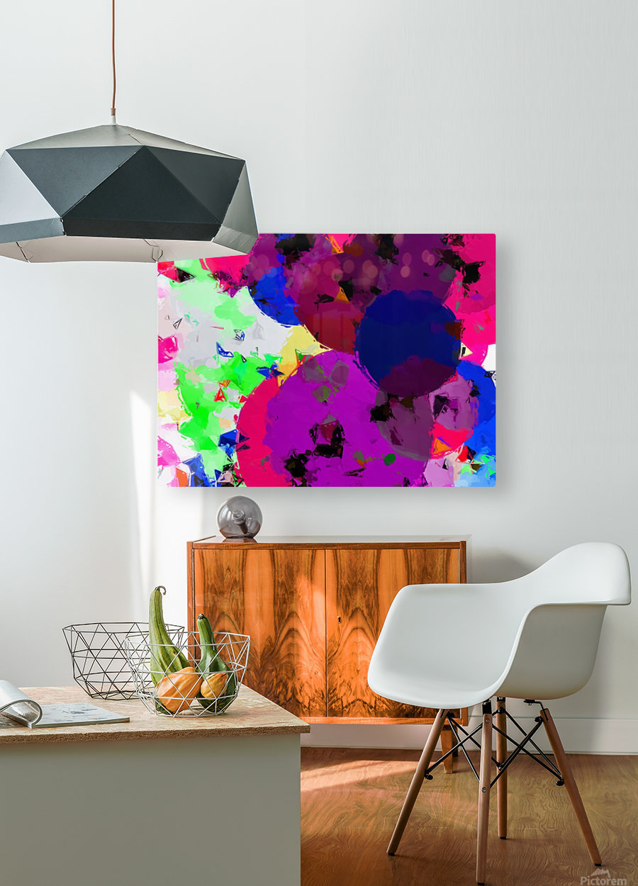 geometric circle pattern abstract in pink blue green  HD Metal print with Floating Frame on Back