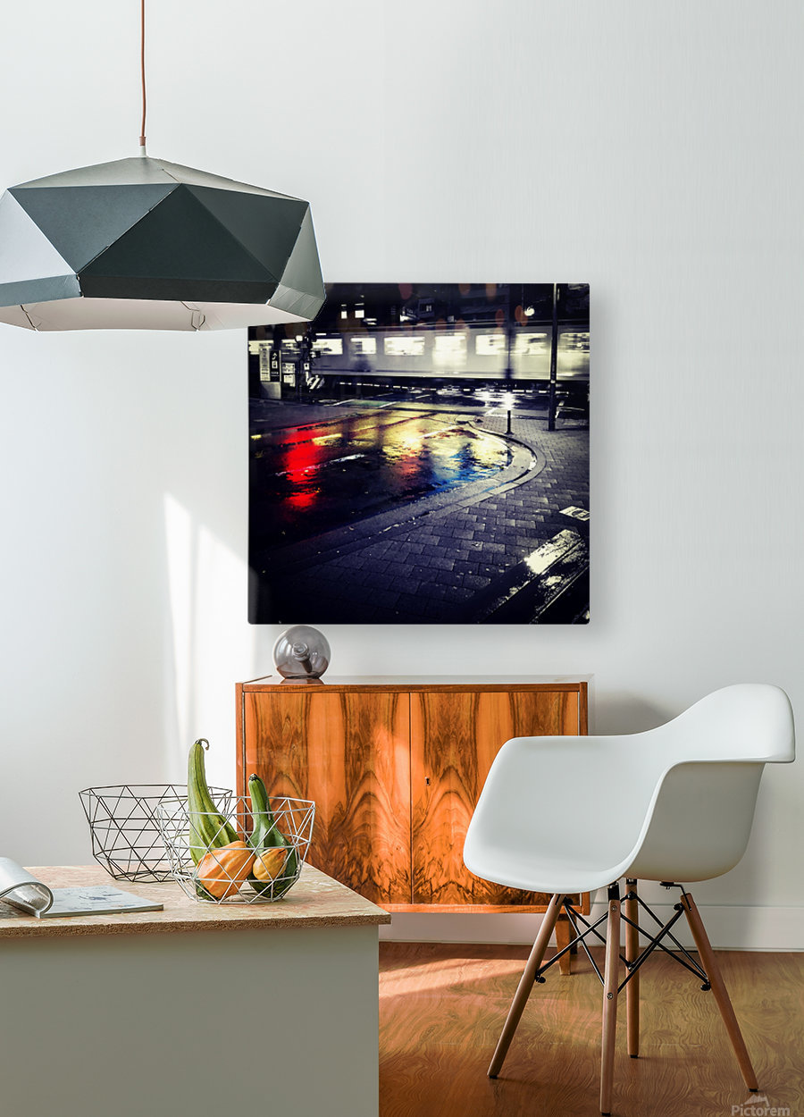 Train  HD Metal print with Floating Frame on Back