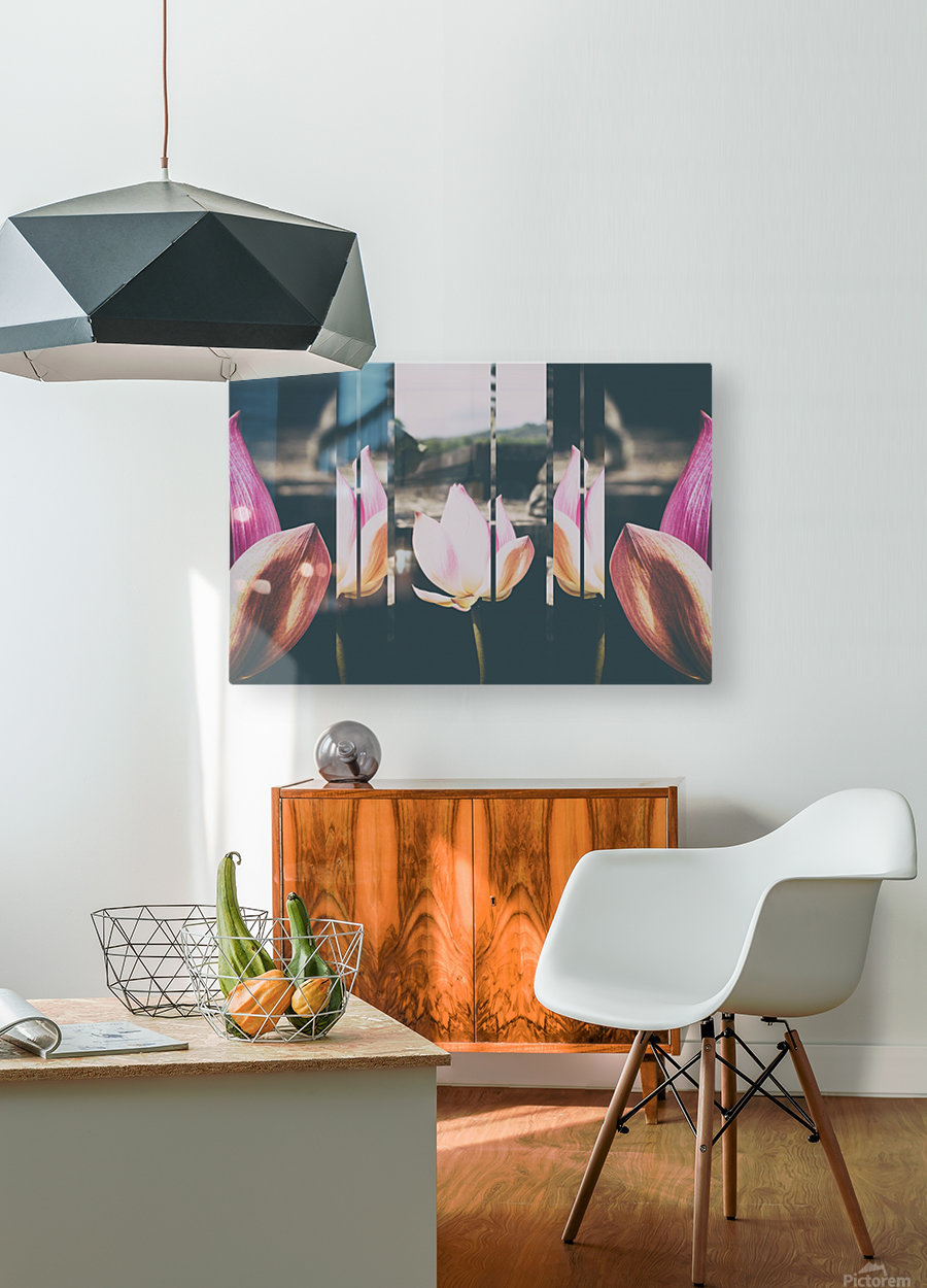 Pink Lotus Collage  HD Metal print with Floating Frame on Back