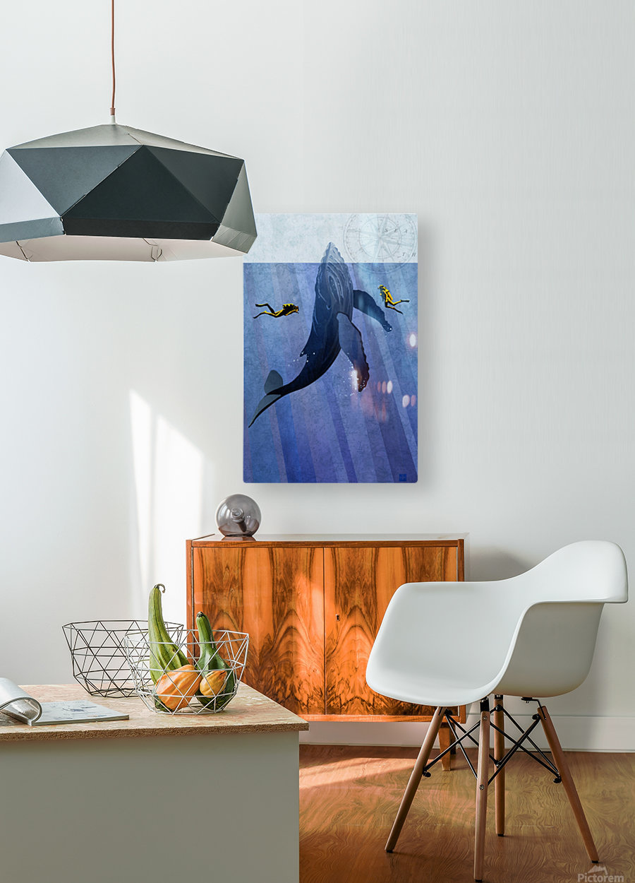 Scuba Dive with Whale  HD Metal print with Floating Frame on Back