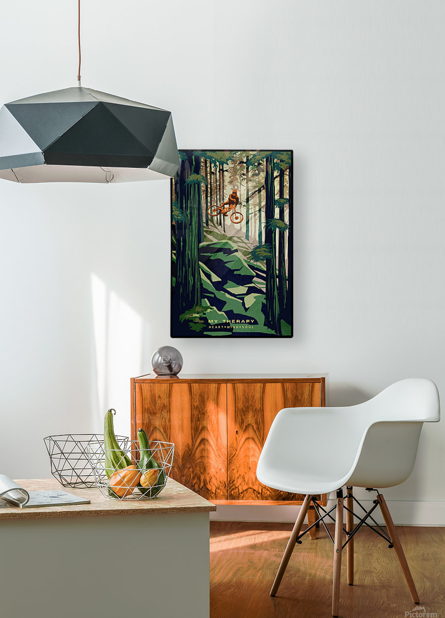 My Therapy retro Mountain biking art   HD Metal print with Floating Frame on Back