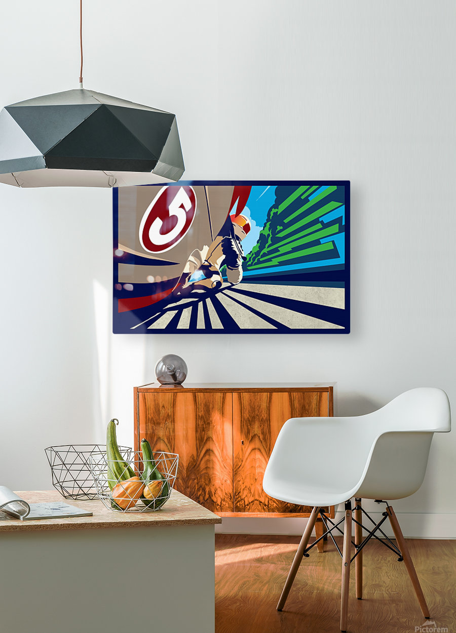 full throttle Motor Racing   HD Metal print with Floating Frame on Back