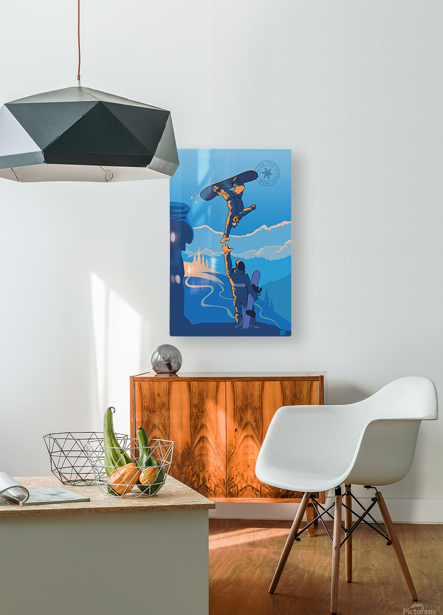 snowboard highfive  HD Metal print with Floating Frame on Back