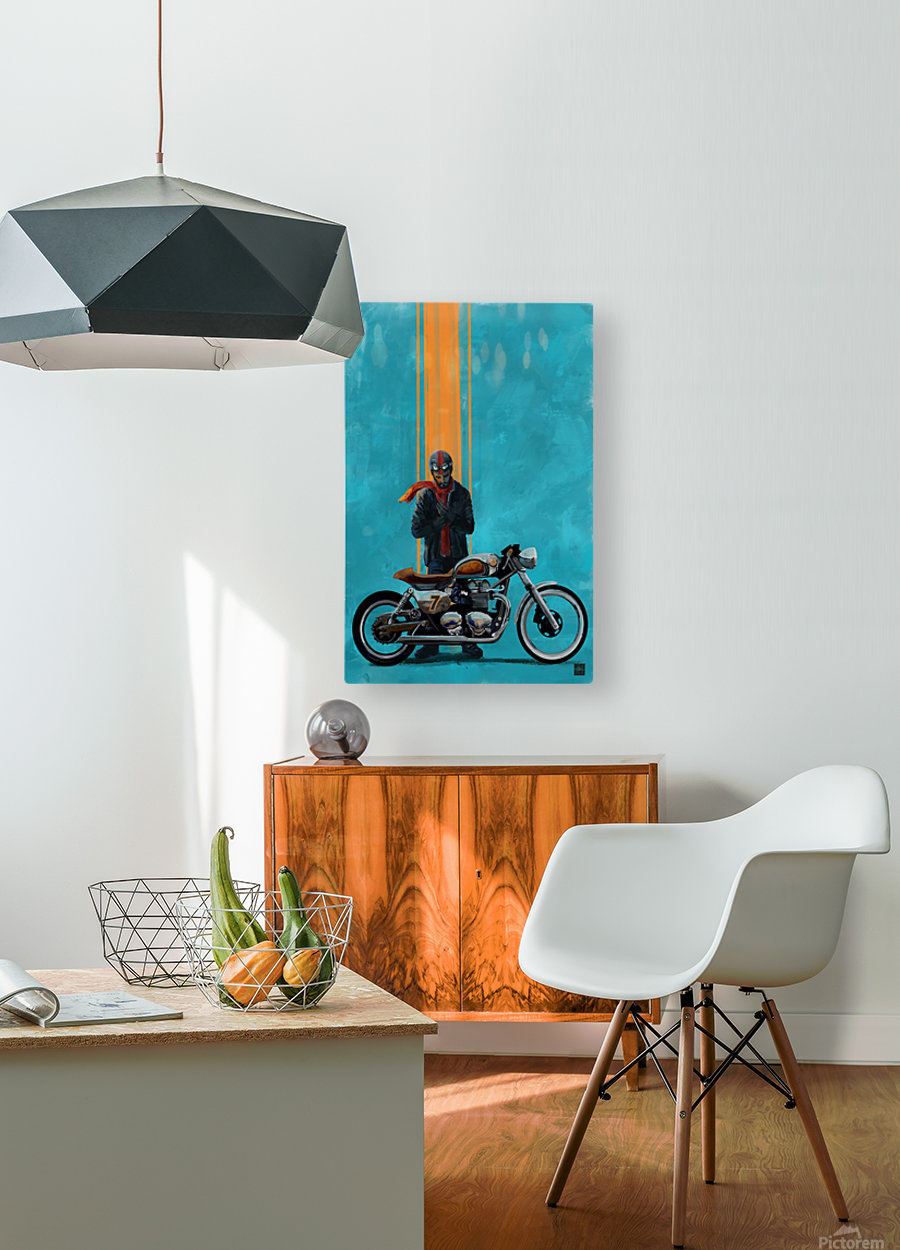caferacer  HD Metal print with Floating Frame on Back