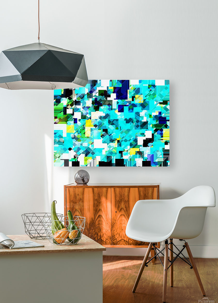 geometric square pixel pattern abstract in blue and yellow  HD Metal print with Floating Frame on Back