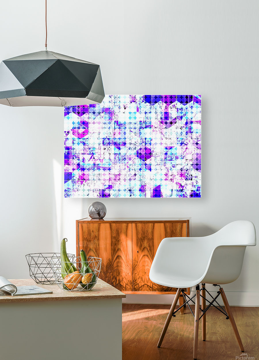 geometric square and circle pattern abstract background in pink blue  HD Metal print with Floating Frame on Back