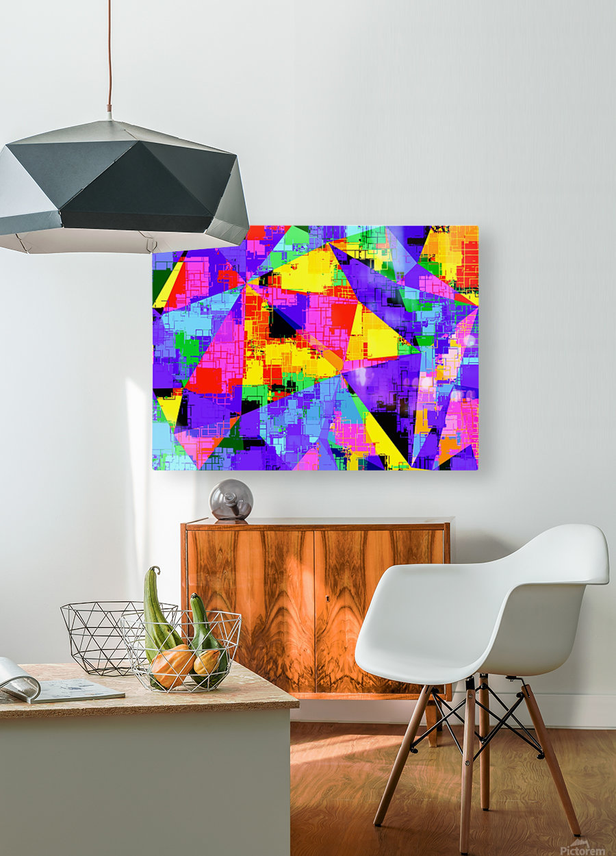 geometric triangle abstract background in purple blue pink yellow  HD Metal print with Floating Frame on Back