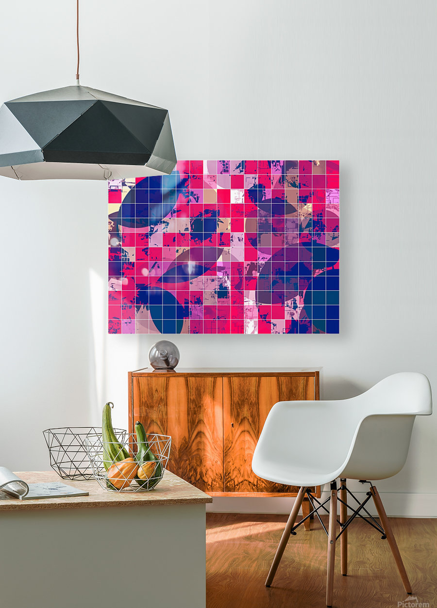 geometric square and circle pattern abstract background in red pink blue  HD Metal print with Floating Frame on Back