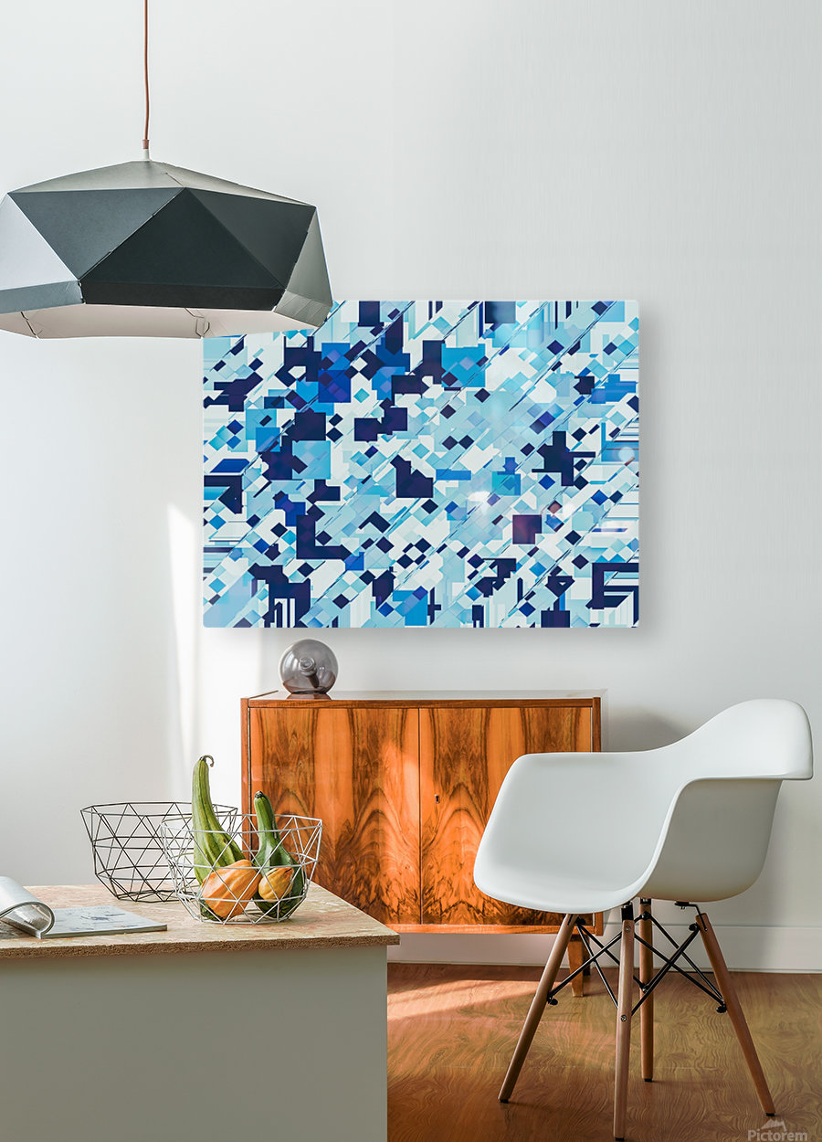 geometric square pixel pattern abstract background in blue  HD Metal print with Floating Frame on Back