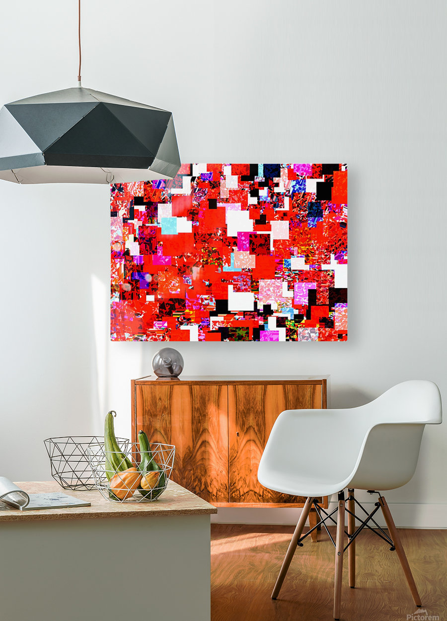 geometric square pixel pattern abstract in red blue pink  HD Metal print with Floating Frame on Back