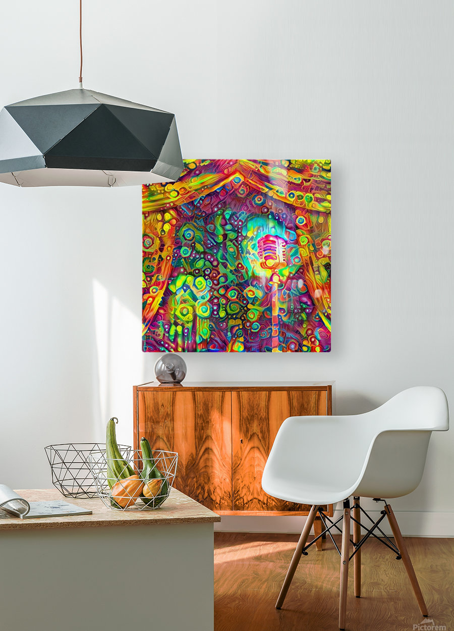 Classic Microphone with Colorful Curtains  HD Metal print with Floating Frame on Back