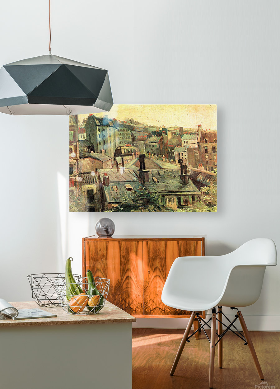 Overlooking the rooftops of Paris by Van Gogh  HD Metal print with Floating Frame on Back