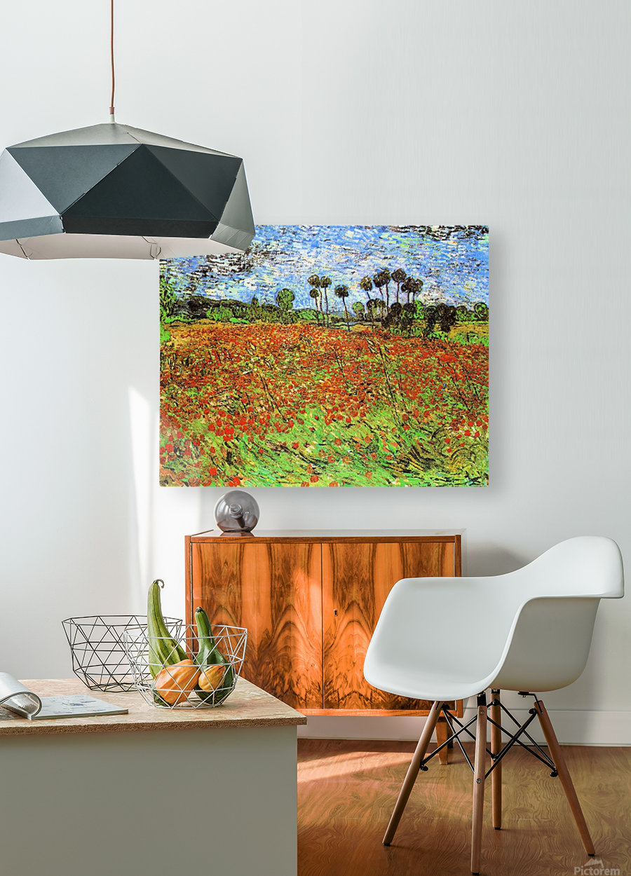 Poppy Fields by Van Gogh  HD Metal print with Floating Frame on Back