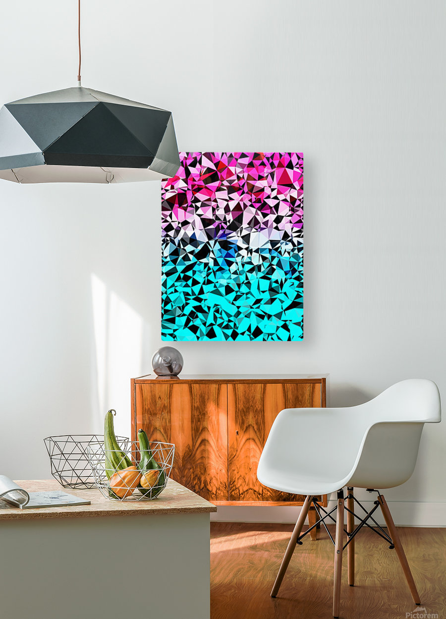 geometric triangle pattern abstract in pink blue black  HD Metal print with Floating Frame on Back
