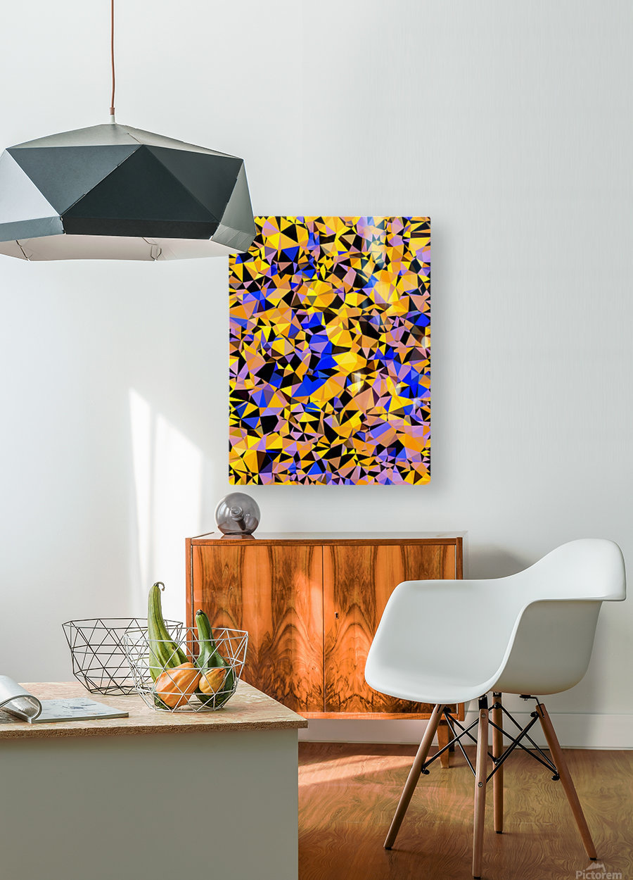 geometric triangle pattern abstract in orange blue yellow  HD Metal print with Floating Frame on Back