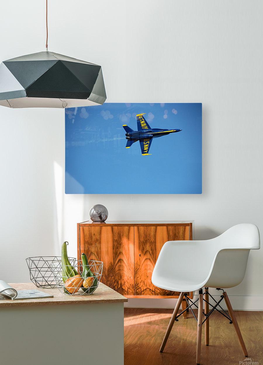 Single USN Blue Angel Flying  HD Metal print with Floating Frame on Back