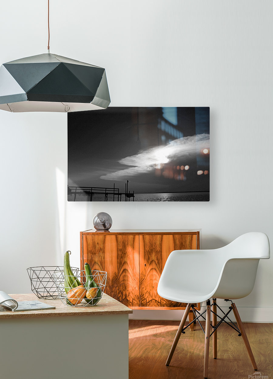 BW Stunning CLoud Sunset  HD Metal print with Floating Frame on Back