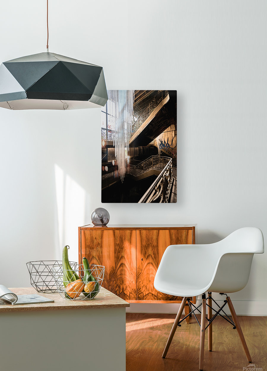 Abandoned Synagogue Icicle Chandelier  HD Metal print with Floating Frame on Back