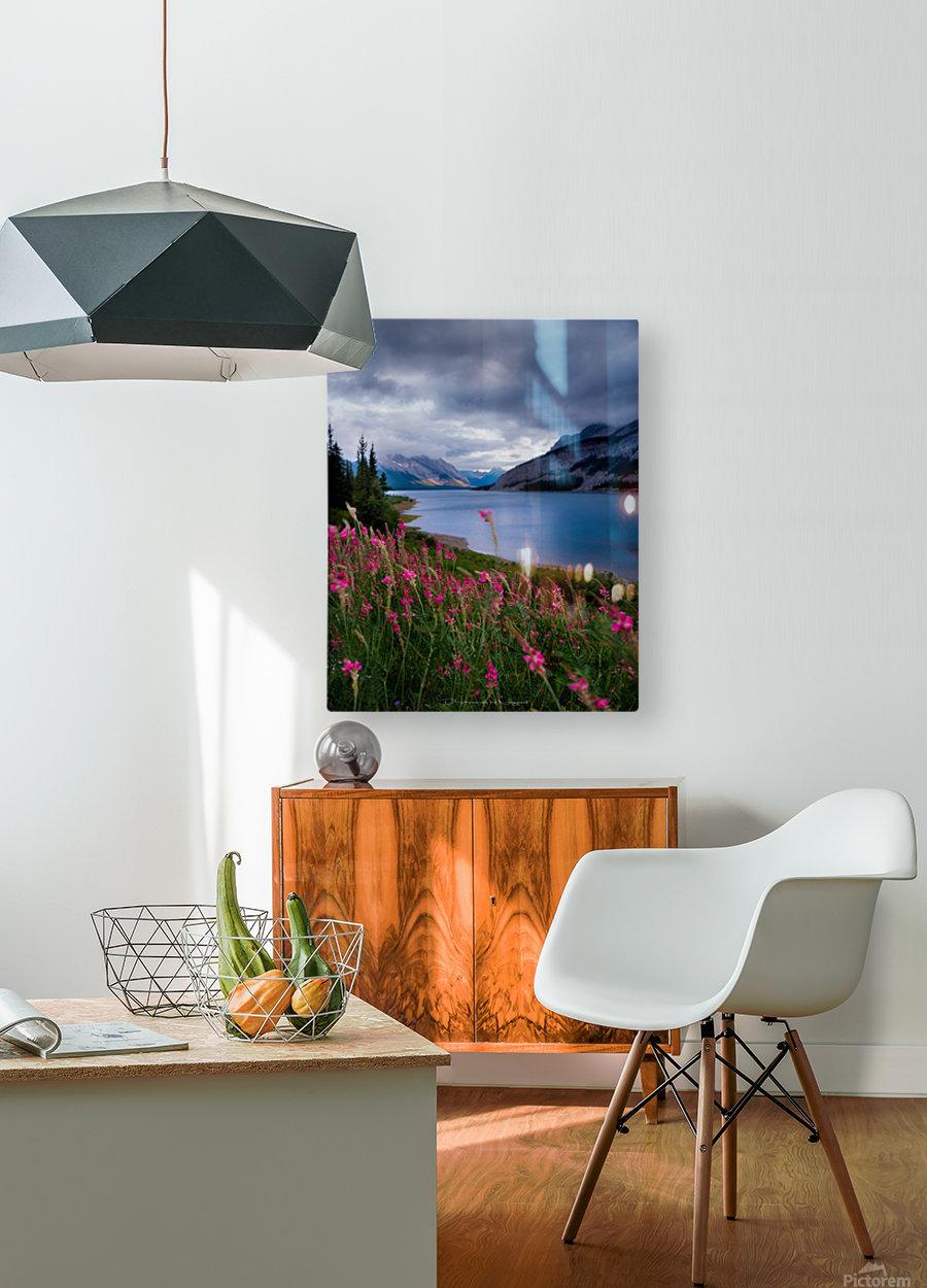 Spray lake   HD Metal print with Floating Frame on Back