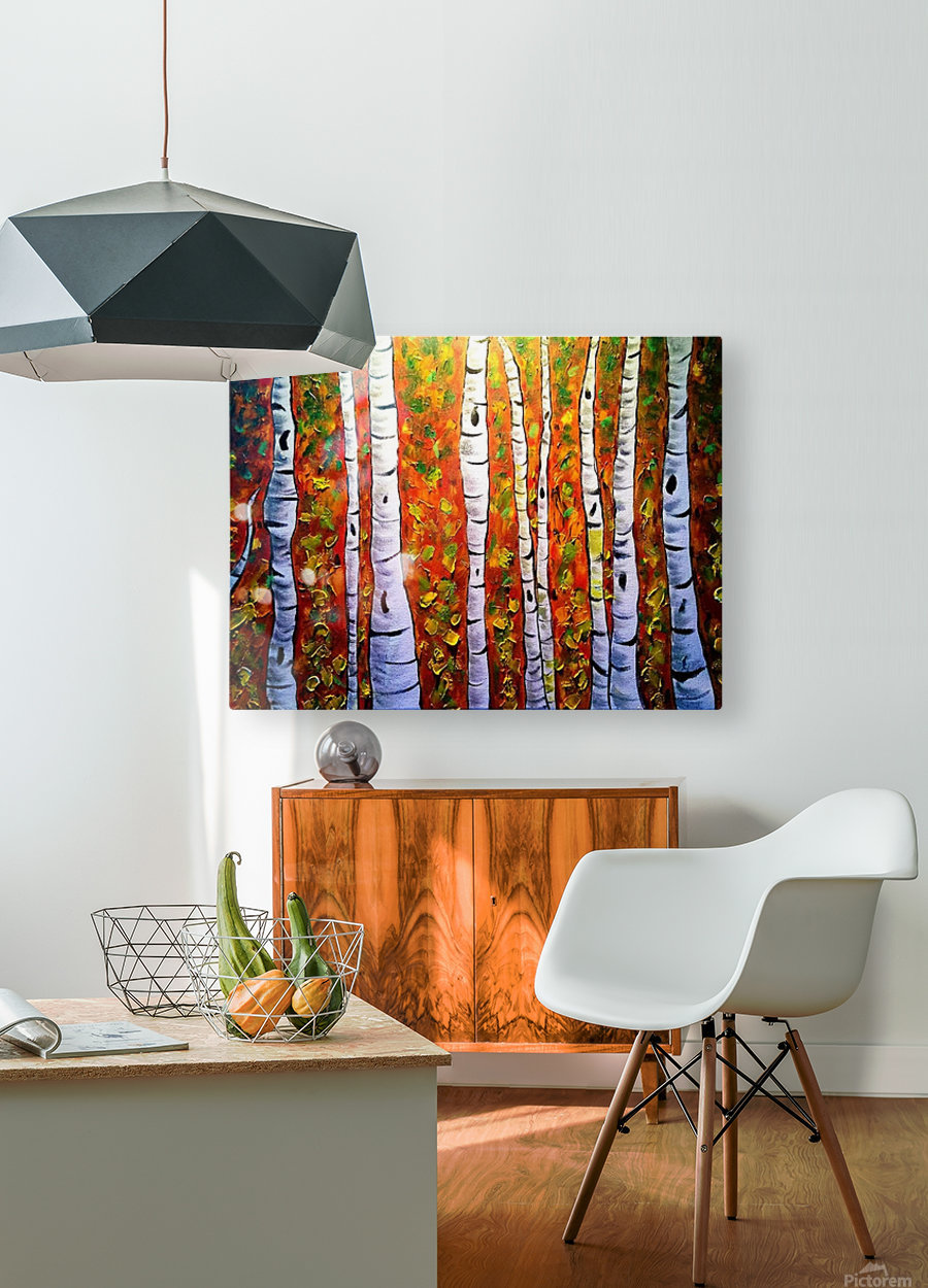 Funky Fall Birch  HD Metal print with Floating Frame on Back