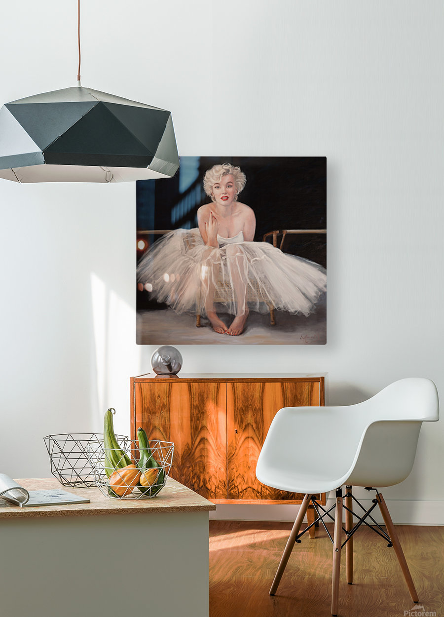 Marilyn in white ballet dress 1  HD Metal print with Floating Frame on Back