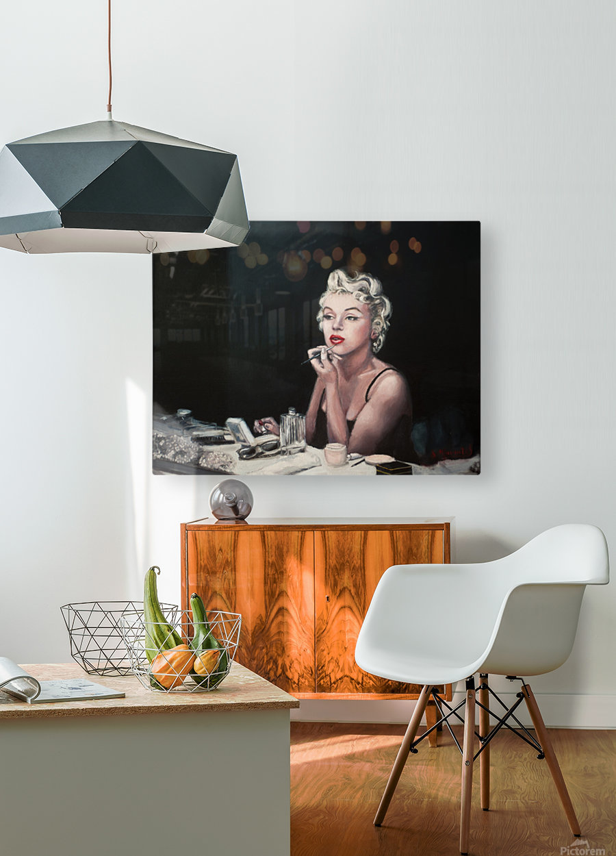 Marilyn backstage  oil painting  portrait 1  HD Metal print with Floating Frame on Back