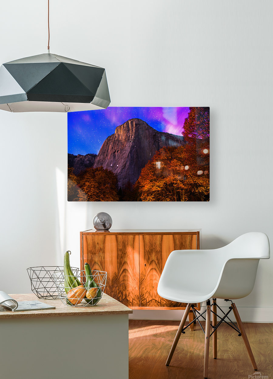 El Capitan Climbers at Night Yosemite National Park  HD Metal print with Floating Frame on Back