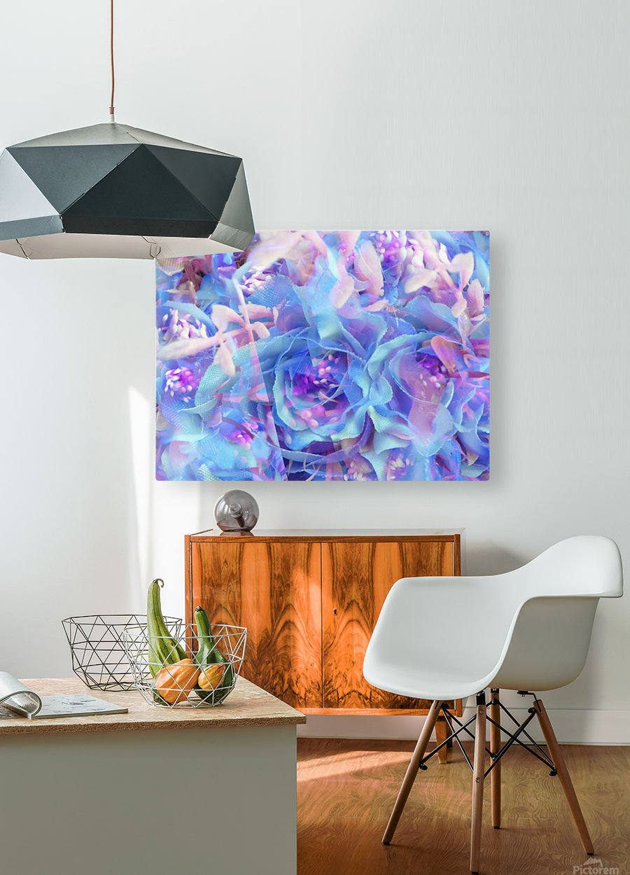 blooming blue rose texture abstract background  HD Metal print with Floating Frame on Back