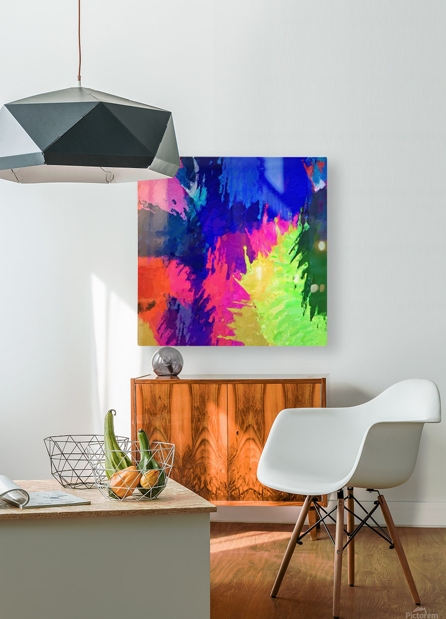 painting texture abstract background in blue pink yellow green  HD Metal print with Floating Frame on Back