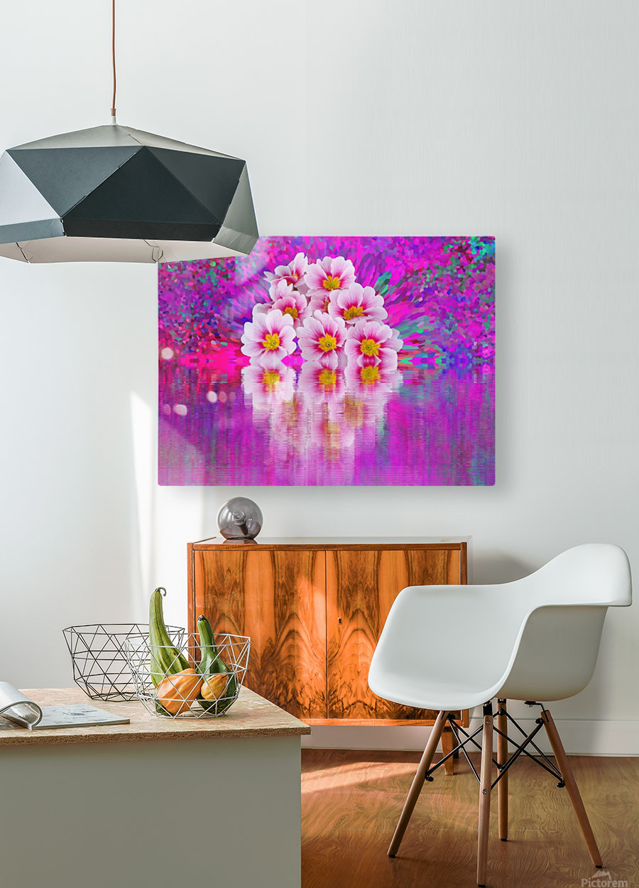 Beautiful colourful flower blossom flower background design floral home decor decoration   HD Metal print with Floating Frame on Back