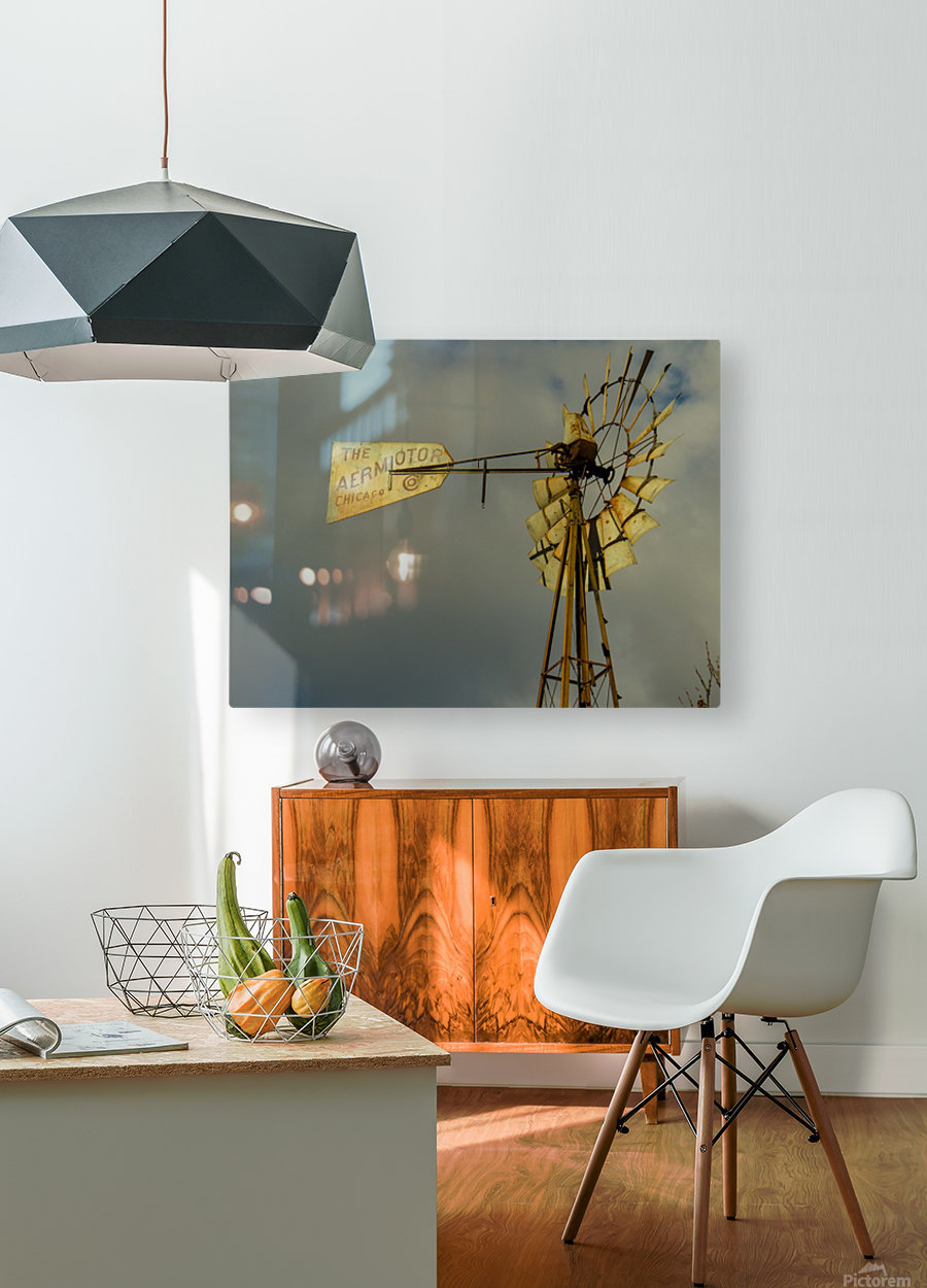 Aeromotor Windmill  HD Metal print with Floating Frame on Back