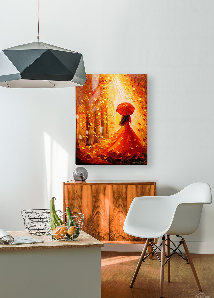 Lady autumn  HD Metal print with Floating Frame on Back