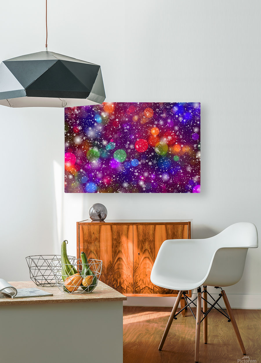 background, abstract, bokeh, lights, decoration, star, party, colorful, confetti,  HD Metal print with Floating Frame on Back