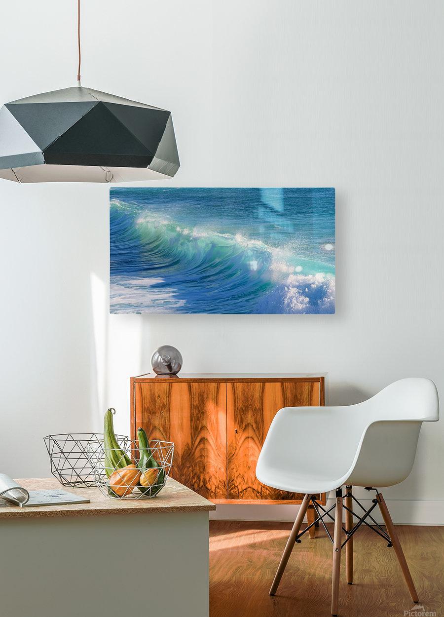 surf, water, wave, sea, nature, turquoise, ocean, splash, seashore, panoramic, spray, foam,  HD Metal print with Floating Frame on Back