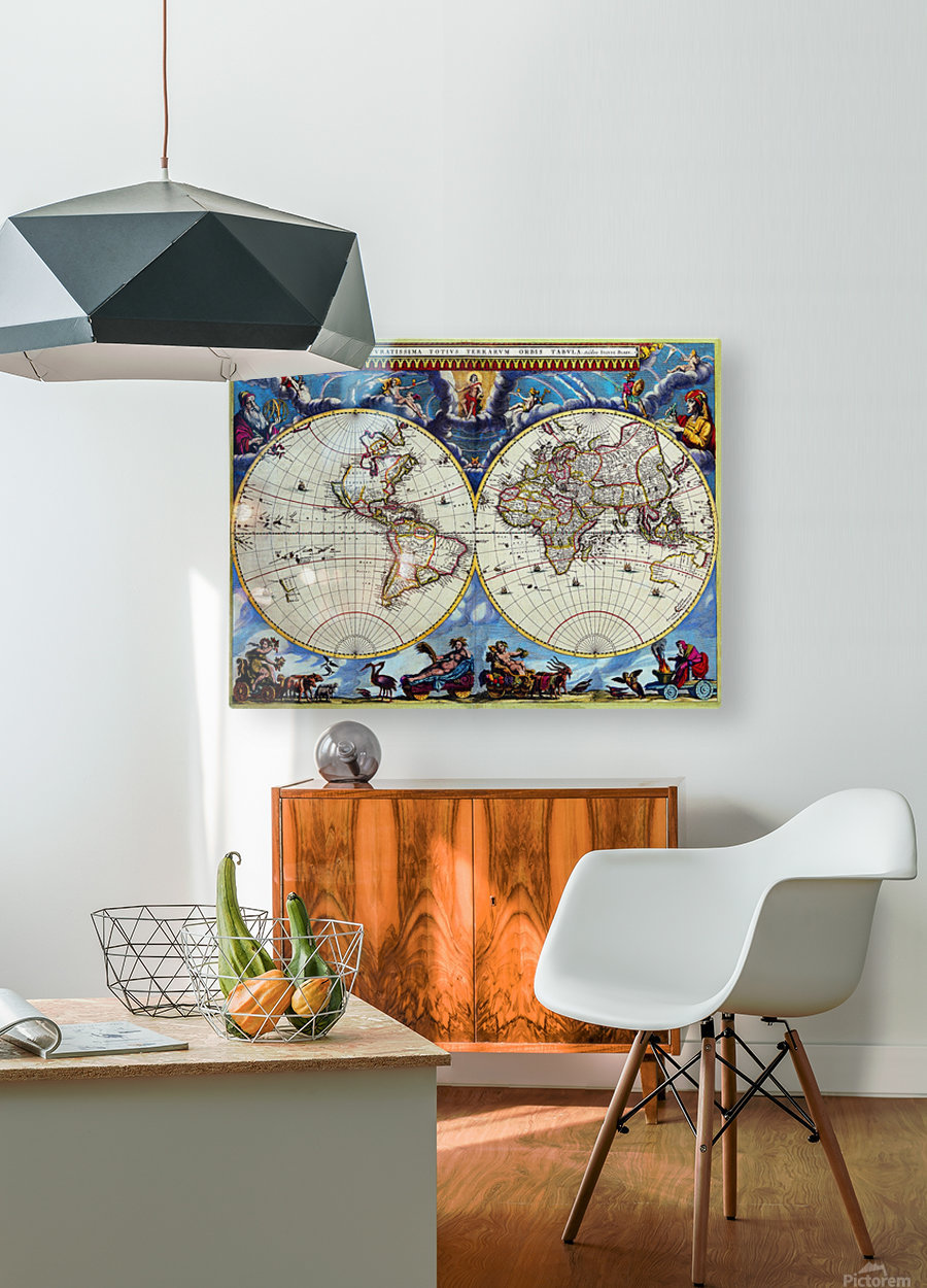 Antique map old map history globe earth maps historical map drawing old map of the world   HD Metal print with Floating Frame on Back